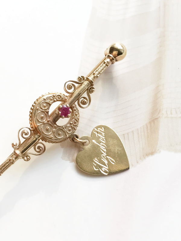 Antique 14k gold ruby moon heart brooch | Victorian & 1960's Etruscan Revival nameplate pin | Elizabeth engraved name brooch