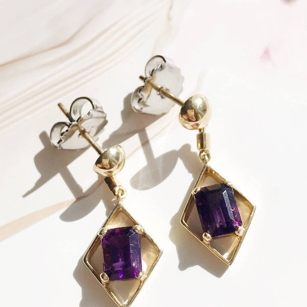 Vintage amethyst drop dangle earrings |  14k gold emerald cut | geometric Art Deco style | February birthstone purple gem | Mother's Day