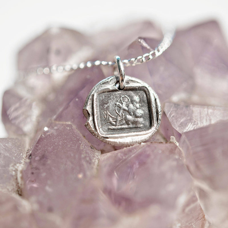 Anchor and mast wax seal charm necklace | hope and steadfastness | antique style handmade fine silver pendant | Victorian stamp jewelry