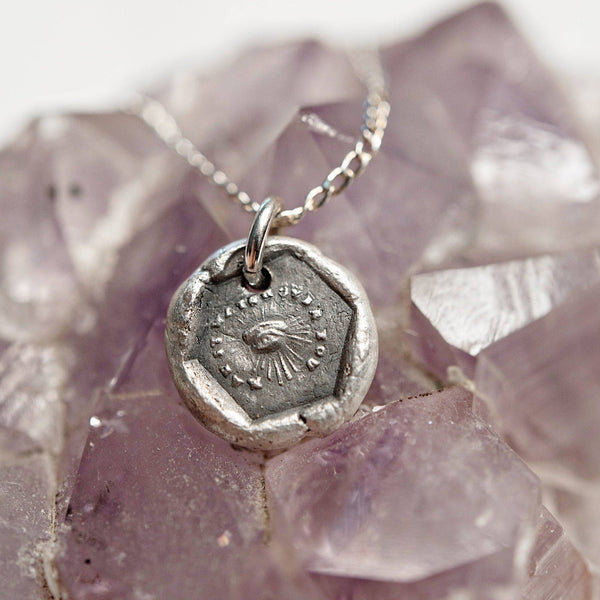 Spiritality protection evil eye wax seal necklace | May It Watch Over You Charm | spiritual all seeing eye | religious faith | fine silver