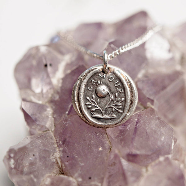 Love rose wax seal necklace | French L'Amour | bridal bridesmaid fine silver necklace | Victorian stamp | everlasting love adoration