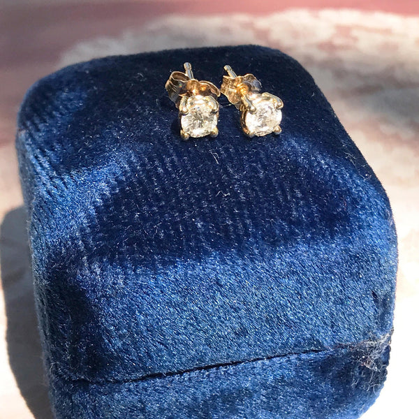 Vintage diamond stud earrings | simple .4 CT minimalist 14k gold classic diamond bridal studs | Mother's Day graduation anniversary gift