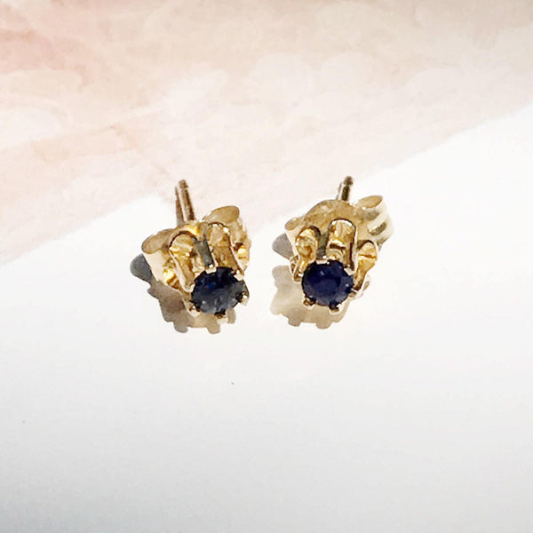 Vintage sapphire stud earrings | 14k gold small dainty minimalist baby young girl jewelry | high setting | something blue bridal studs