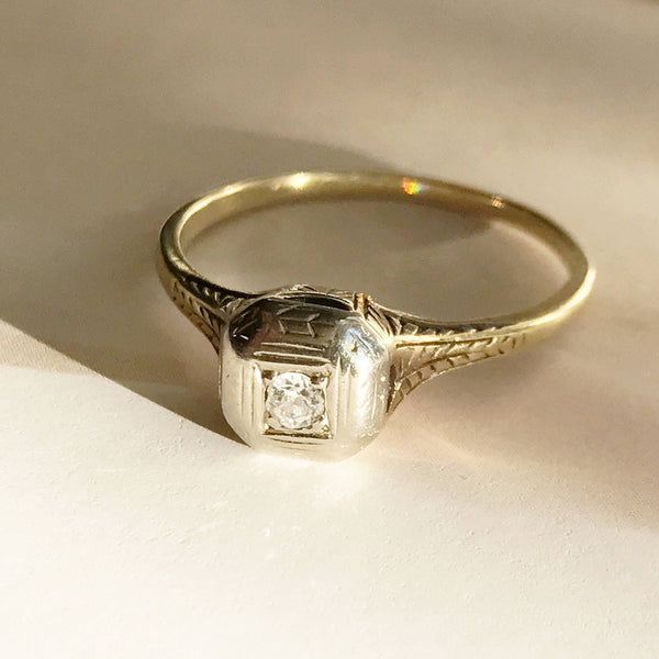 Antique square diamond ring | Edwardian 14k gold & platinum engraved wheat sheaf engagement ring | small diamond wheat sheaf ring | 5 3/4