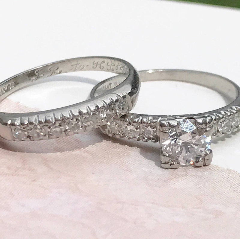 Antique diamond engagement ring & wedding band | 1940's mid century Art Deco platinum .86 CT classic square matching ring set | size 5 1/4