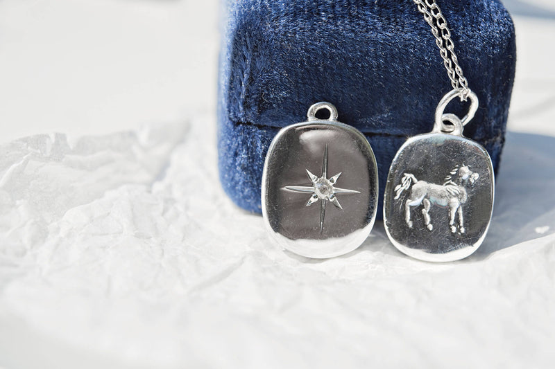 Intaglio horse & north star necklace | custom vintage style reversible two sided pendant | divorce, strength, hope, grief, mourning necklace