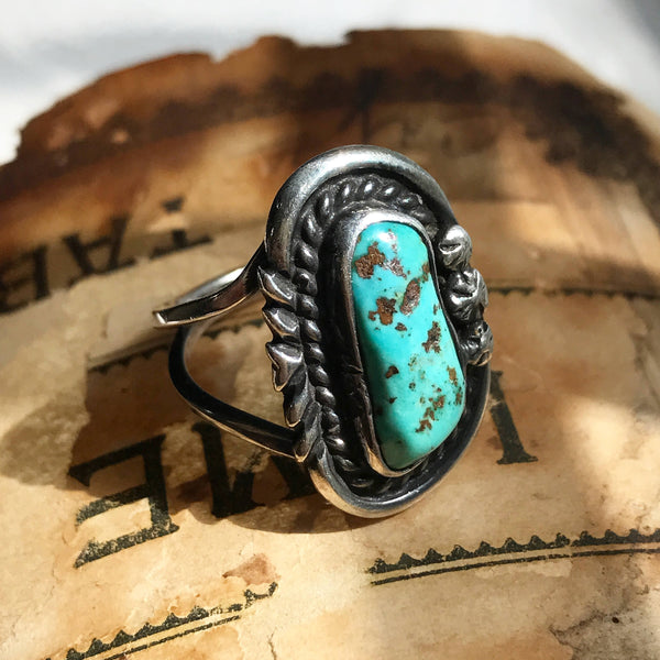 Vintage signed Navajo turquoise ring | oval turquoise | James Little | Native American old pawn silver jewelry | boho Southwest | size 6 1/4