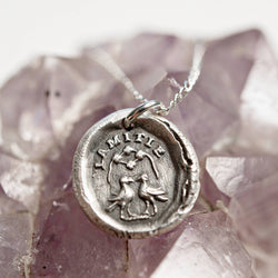 Friendship wax seal charm necklace | l'amitie French friends forever | bridal bridesmaid fine silver jewelry | bird animal | gift for friend