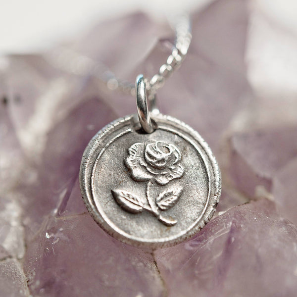 Rose wax seal charm necklace | rose flower love pendant | bridal bridesmaid fine silver jewelry | Victorian stamp | love friendship gift