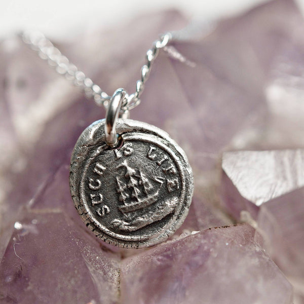 Such is life wax seal charm necklace | ship and sea ocean | change, life transition, difficulty, cancer talisman | fine silver jewelry