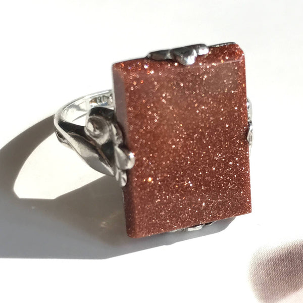 Vintage 1930's sterling goldstone ring | Art Deco rectangular orange coppery sparkly stone | romantic feminine statement ring | size 5 1/4