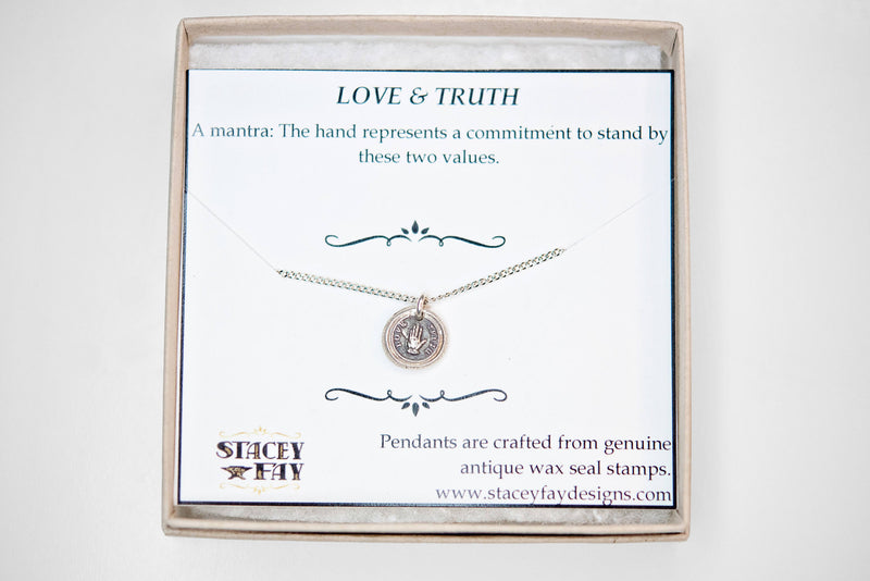 Love and truth wax seal charm necklace | hand promise | mantra talisman motto pledge jewelry | Victorian stamp | bride marriage devotion