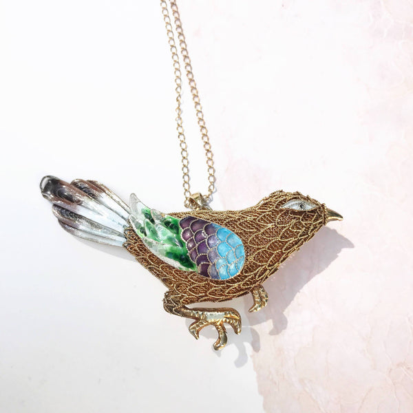 Rare Chinese export enamel bird brooch necklace | Vintage 1930's Art Deco silver gilt cloisonne filigree bird pin pendant | Asian antique