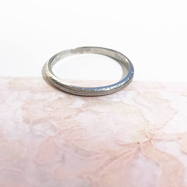Antique 1930's platinum wedding band | Art Deco engraved Dec 28 1936 | thin dainty plain classic stacking band | size 6 1/4