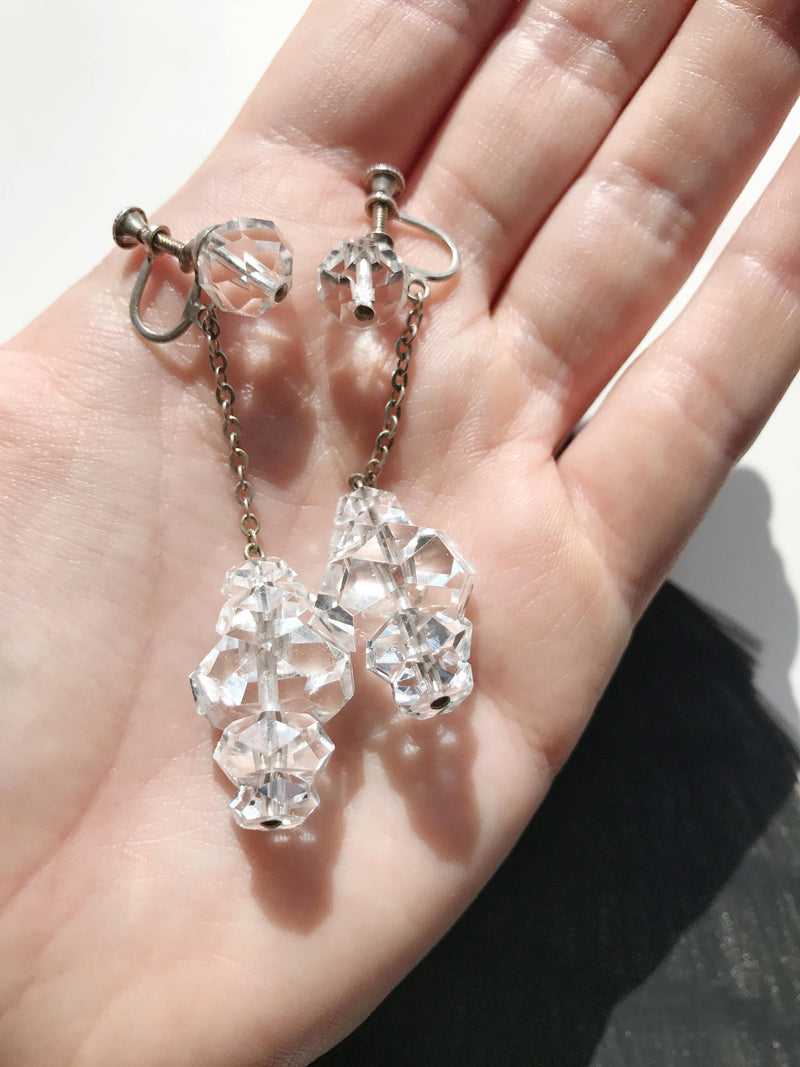1920's silver clear crystal screw back earrings | rare antique Art Deco long dangly sterling earrings | rock crystal | bridal earrings
