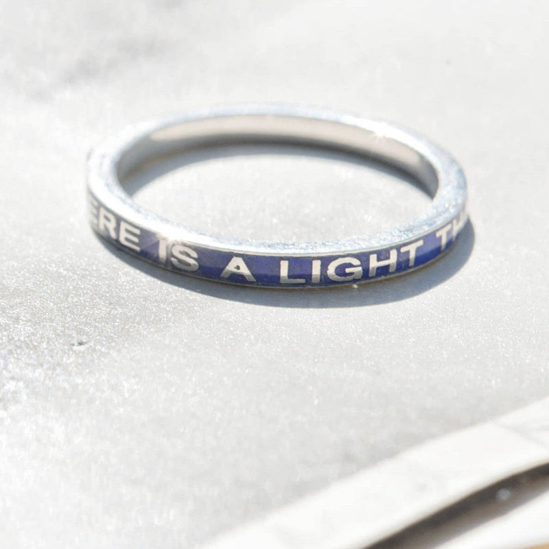 Remembrance mourning enamel ring | There is a Light That Never Goes Out | memento mori | grief difficulty | wedding band stack ring