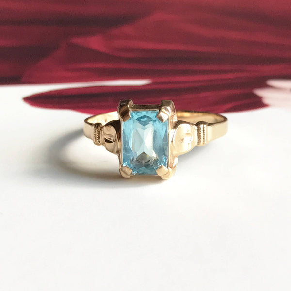Vintage aquamarine ring | 1950's 14k gold emerald cut engagement ring | icy blue gemstone March birthstone | bridal fine jewelry | size 5
