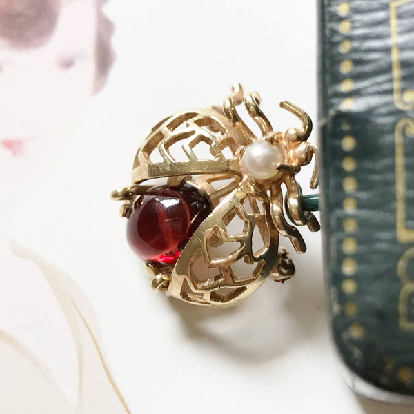 Vintage ladybug brooch | 14k gold garnet and pearl beetle pin | good luck animal jewelry | boho earthy ladybug bridal hair pin