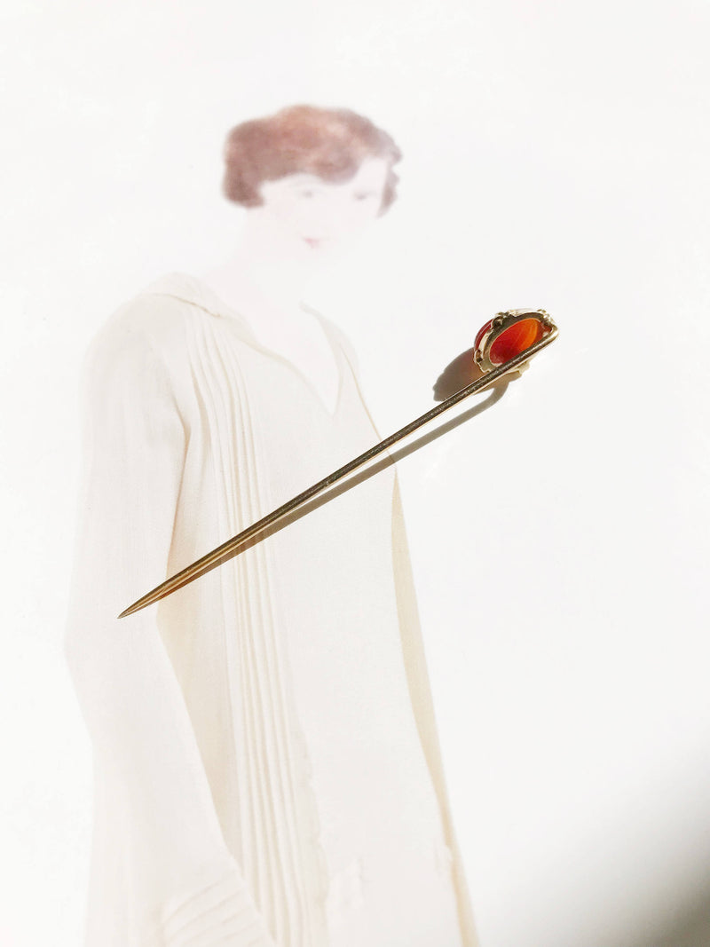 Vintage scarab stick pin  | Art Deco 1920's 14k rose gold | gift for insect lover gardener | gift for him | carnelian beetle insect jewelry