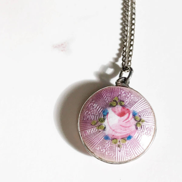 Vintage 1920's pink enamel rose flower silver charm necklace | guilloche pink enamel pendant | anniversary bridal flower girl jewelry