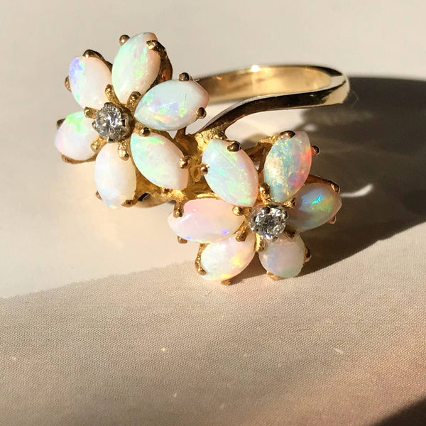 Vintage opal and diamond flower cluster 18k gold ring | retro 1960's toi et moi cocktail ring | bohemian bridal anniversary jewelry | size 5
