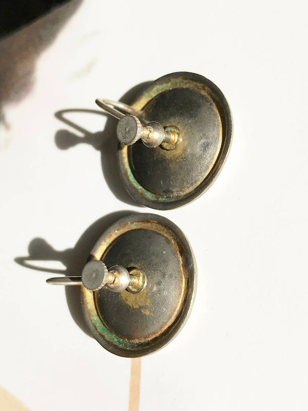 Vintage screw back earrings black enamel and orange goldstone | 1940's late Art Deco circular statement earrings | clip on orange stone