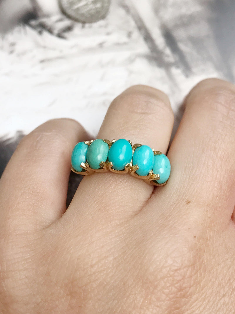 Vintage gold turquoise ring | 15k gold ring with five turquoise stones | Victorian style fine bridal stacking jewelry | size 4 3/4