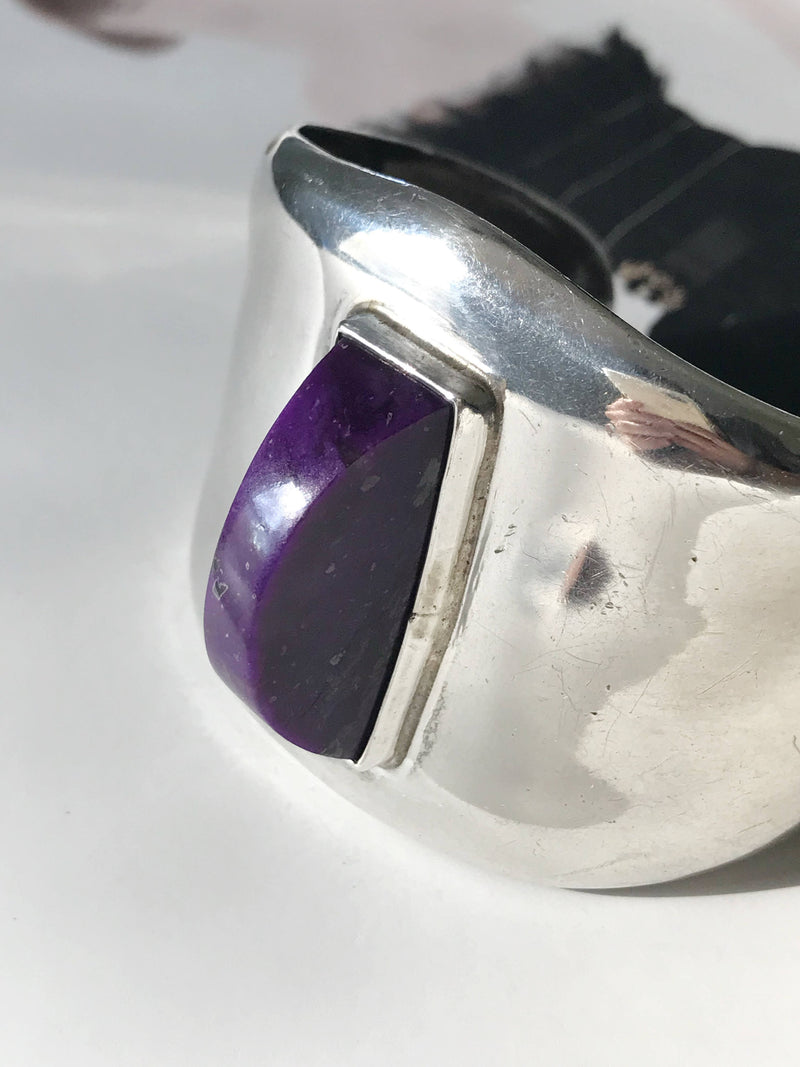 Vintage Mexican silver purple stone cuff | large statement TAXCO sterling silver cuff | Mexican Native American Southwestern modernist cuff