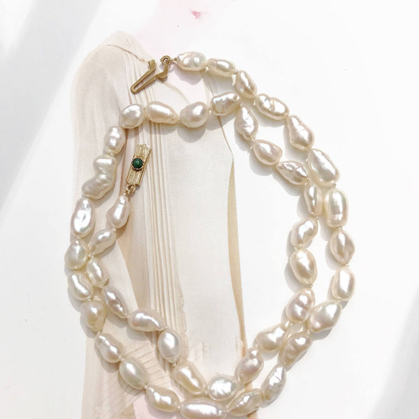 "Vintage pearl necklace | 1950's Asian Chinese short rice pearl necklace | 15"" petite 