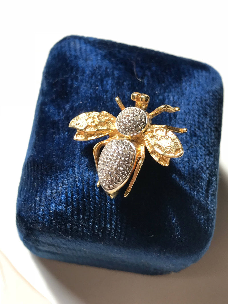 Vintage bee diamond brooch | 14k white & yellow gold insect pin | good luck, wisdom, spiritual animal jewelry | boho earthy bridal hair pin