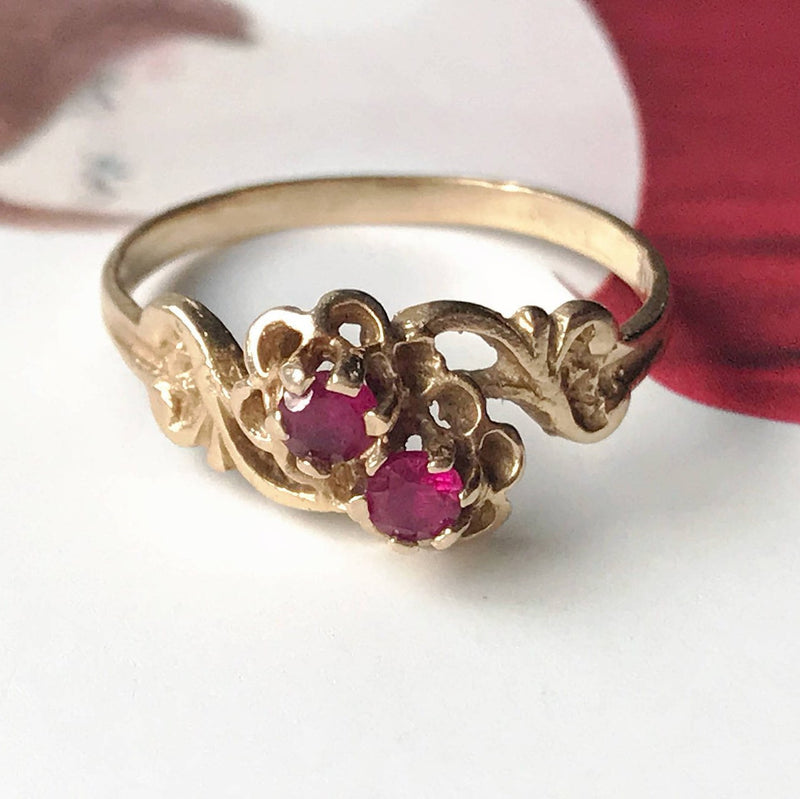 Vintage ruby flower ring | 14k two stone toi et moi bypass ring | Victorian style promise anniversary ring | size 6 | Mother's Day