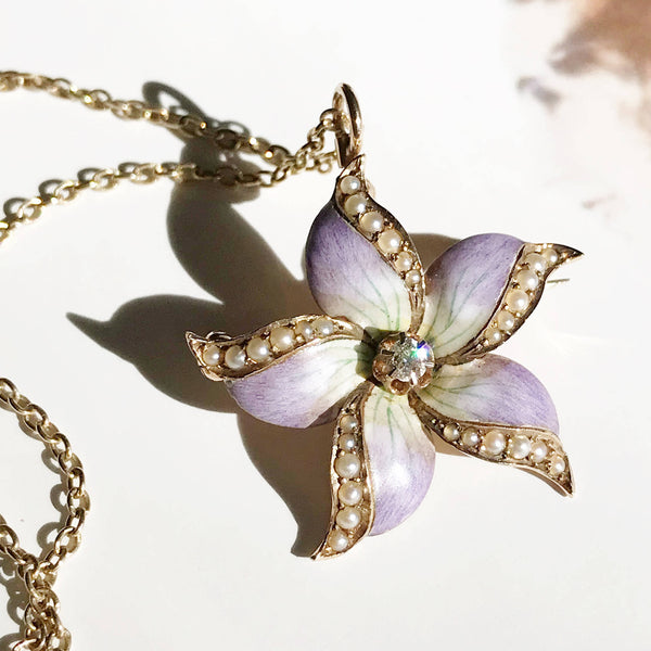 Antique enamel, pearl & diamond orchid gold necklace | Art Nouveau flower convertible pendant brooch | gift for her | floral bride necklace