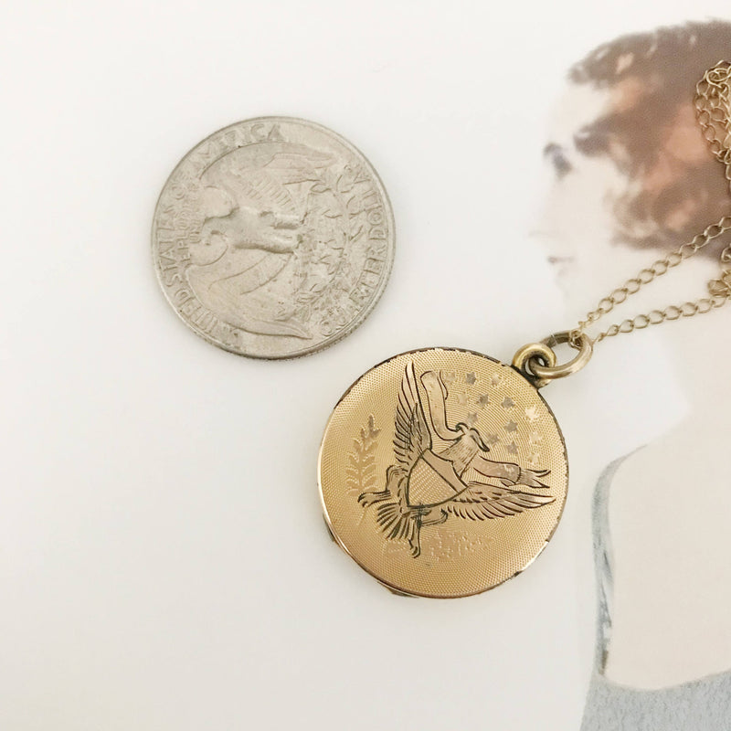 Antique WWI locket with eagle and religious medals | rare gold filled war military memoriabilia locket necklace | Mother Mary Jesus locket