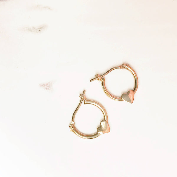 Vintage baby earrings | 14k heart hoop tiny dainty little girl child first pierced earrings | first birthday gift | small heart earrings