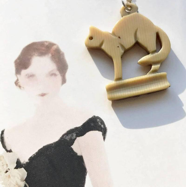 Celluloid Cat Necklace