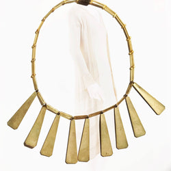 Antique 1930's glass and brass Egyptian necklace | gold Art Deco choker bib necklace | Egyptian revival pyramid geometric modernist necklace