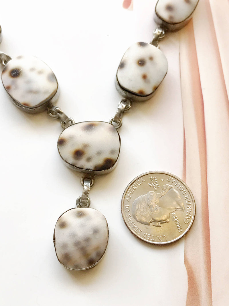 Vintage shell lavalier necklace | cream and brown sea shell silver tone drop Y necklace | beach bride wedding necklace | boho bride necklace