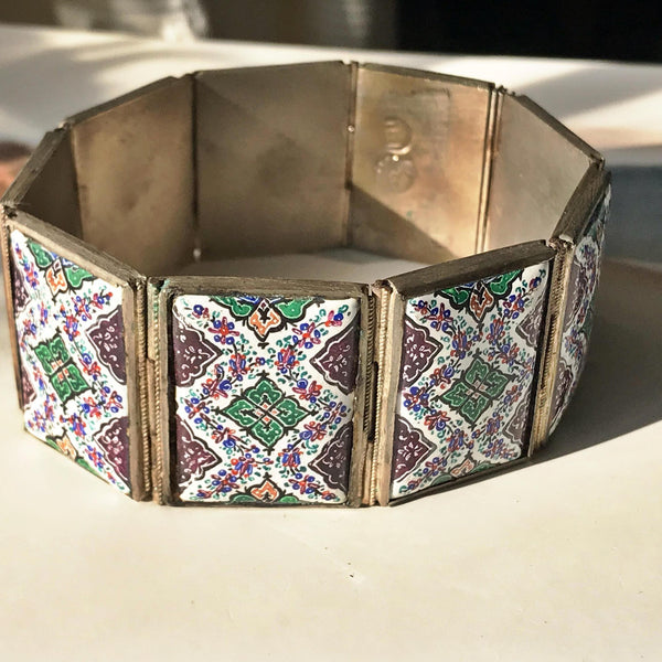 Vintage Moroccan porcelain tile panel bracelet | 1970's Mediterranean tile mosaic jewelry | purple and green painted tile statement bracelet