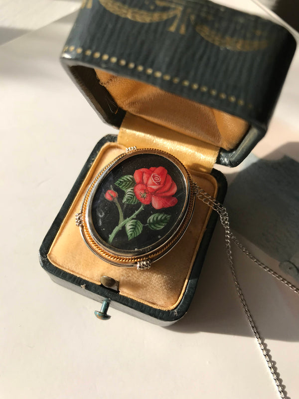 Vintage rose painting necklace | 1940's Italian 800 silver | hand painted flower pendant brooch | Art Deco romantic love bridal jewelry