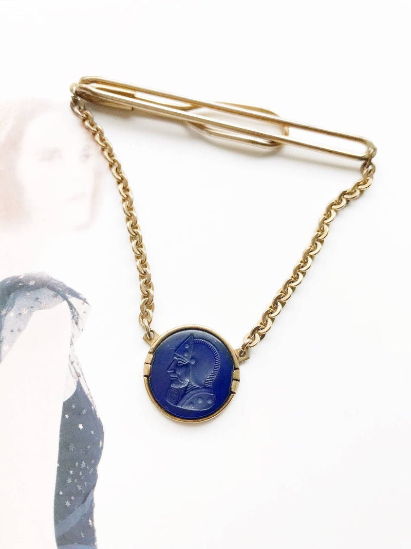 Vintage Swank tie bar | 1950's retro blue intaglio Roman soldier tie accessory | gift for him | gift for groom | men's fashion accessory
