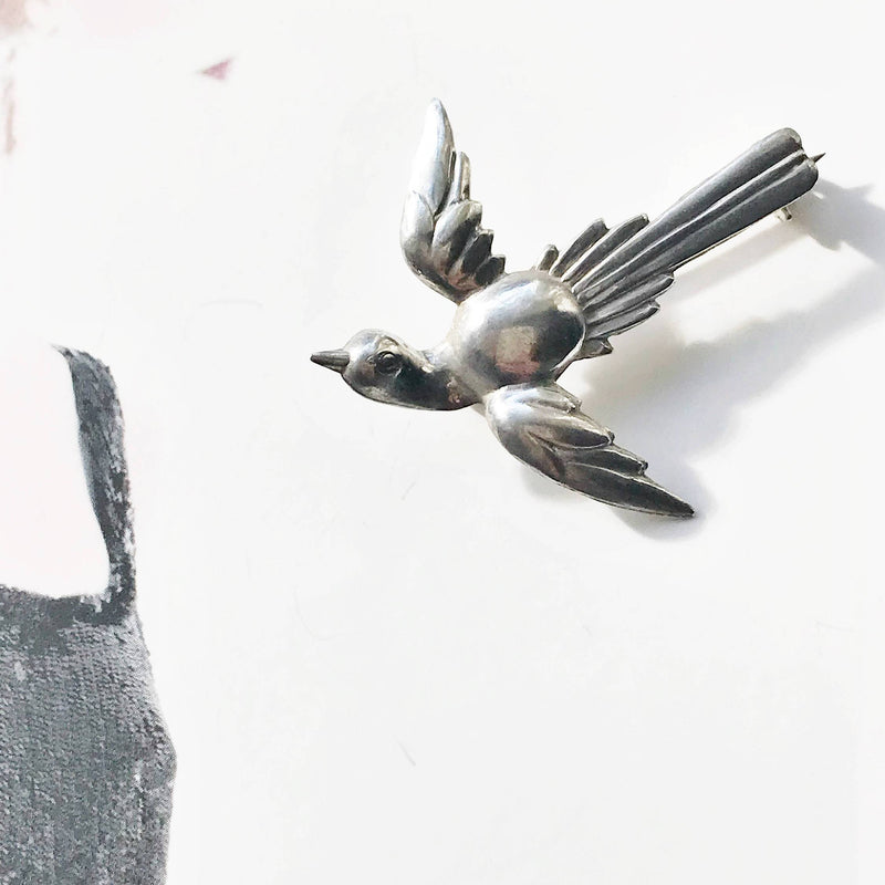 Vintage swallow bird pin | 1940's Art Deco sterling silver flying bird brooch | freedom, hope, love and loyalty animal pin