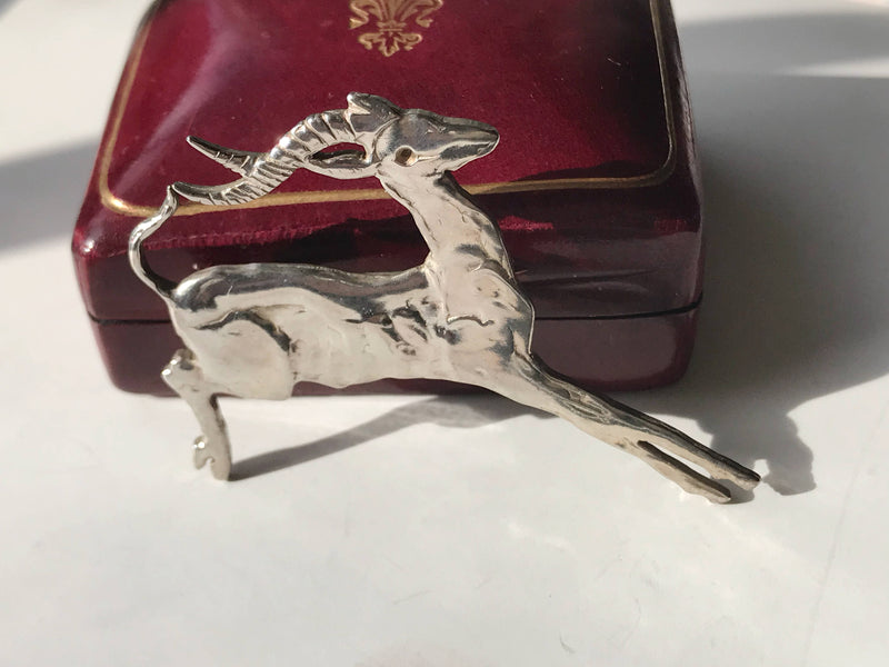 Vintage antelope pin | 1940's Art Deco African gazelle deer ungulate brooch |  strength grace animal pin | gift for new job graduation