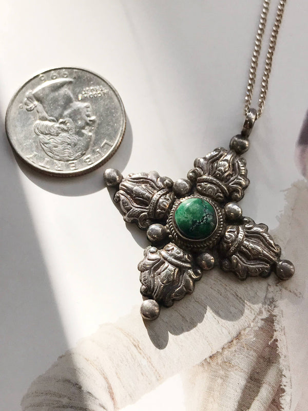 Vintage turquoise tribal cross necklace | 1970's silver Native American Mexican Tibetan silver style | four points directions necklace