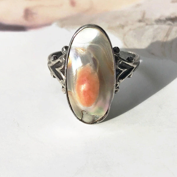 Art Deco blister pearl ring | vintage 1940's pearl abalone sterling silver ring | heart and pearl ring | late Art Deco | size 6 1/4