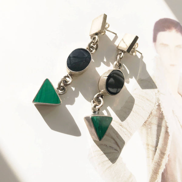 Vintage geometric shape earrings with onyx and malachite | green and black boho long dangle shapes | Mexican silver square oval earrings