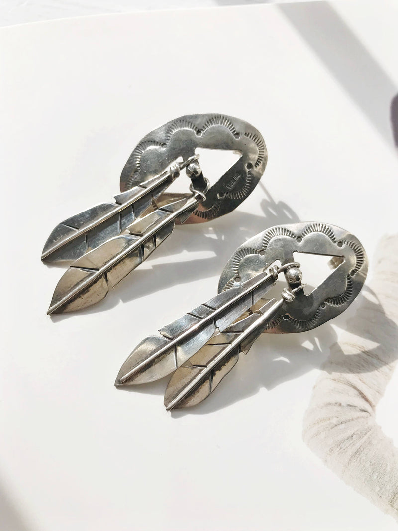 Vintage feather earrings | sterling silver large signed Southwestern statement earrings | Native American sun symbol stamped earrings