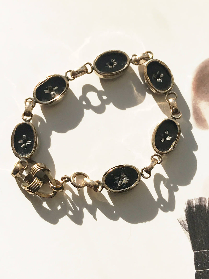 Art Deco onyx and diamond bracelet | 1930's gold filled link bracelet | alternative bride bracelet | black stone diamond bracelet