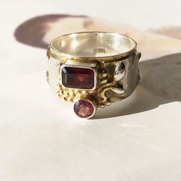 Garnet and tourmaline cigar band ring | earthy organic boho thick tree bark geometric ring | January and October birthstone | size 5 1/4