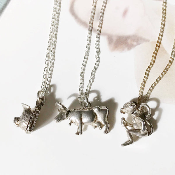 Vintage animal charm necklace | moveable bobble head cow, monkey, chicken, chicks vintage charms | gift for good luck | humorous gift