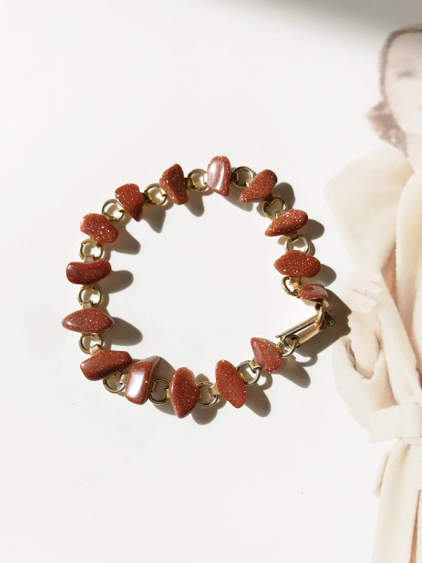 Vintage goldstone bracelet | red orange stone pebble link bracelet | orange glass bracelet | 1970's hippie boho bohemian bracelet